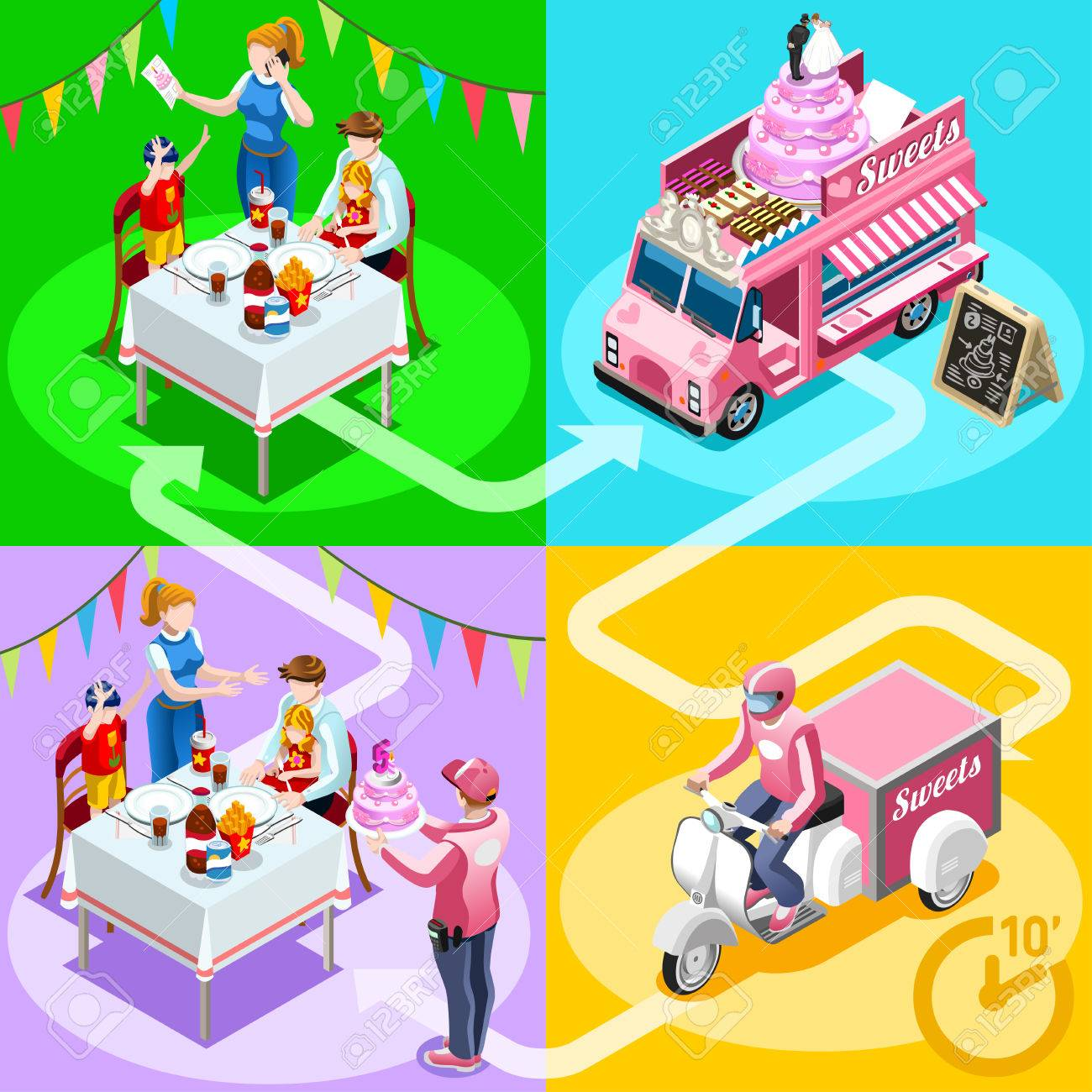Gourmet Take Away Food Truck And White Car Or Van For Birthday Cake Fast Home Delivery