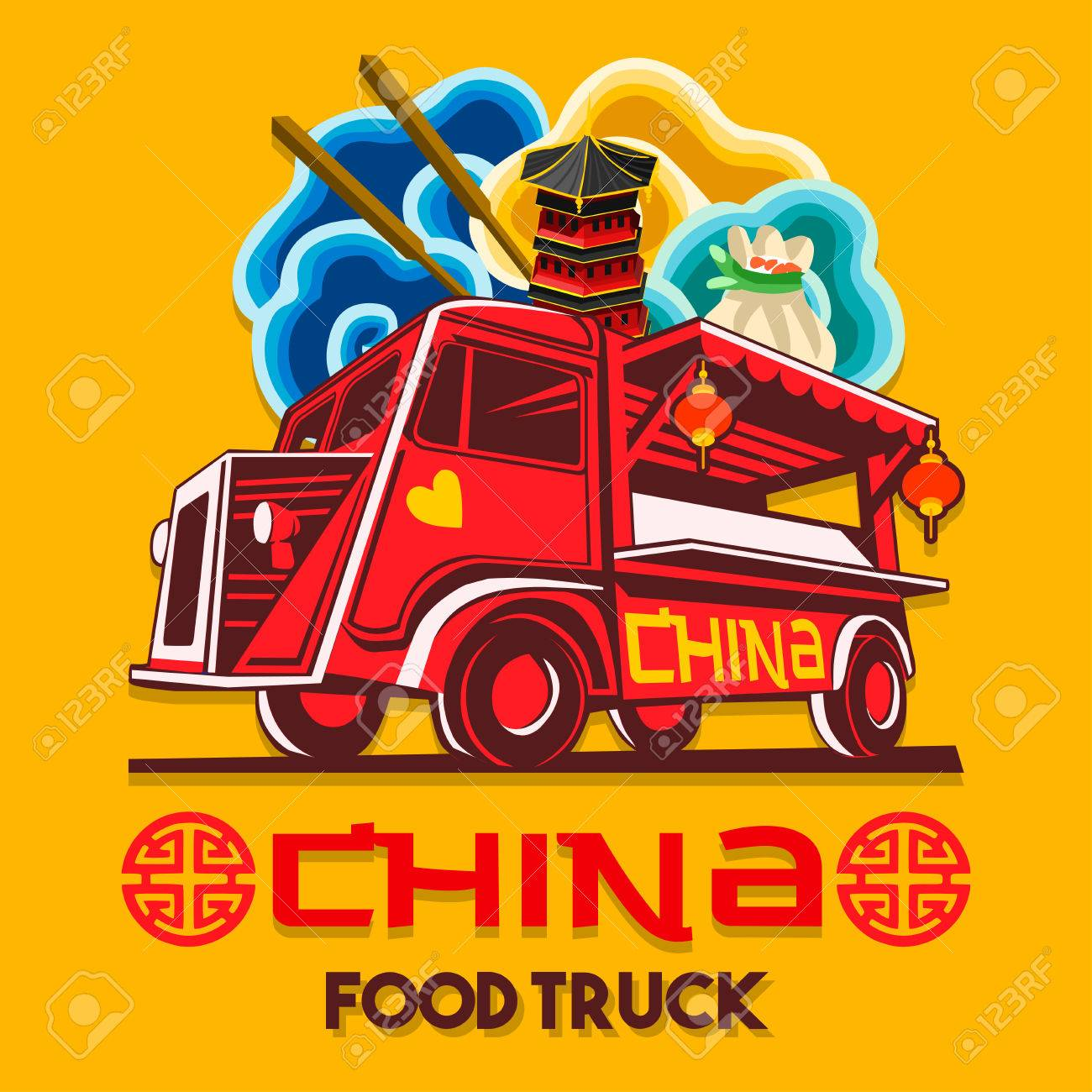 Food truck logotype for Chinese china restaurant fast delivery