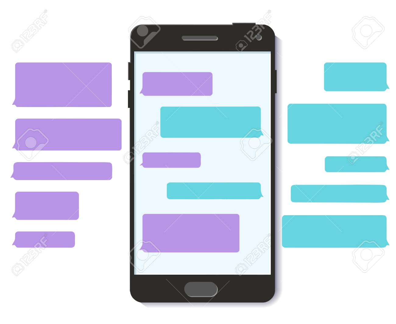 chatbot chat text message bubble template 3d flat vector mobile
