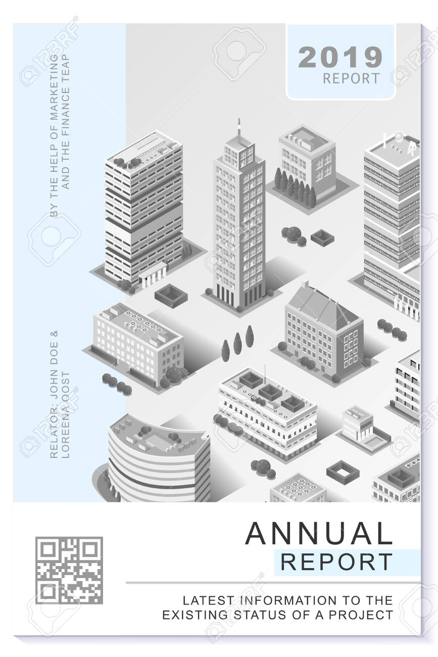 financial newsletter annual report or proposal vector clean gray
