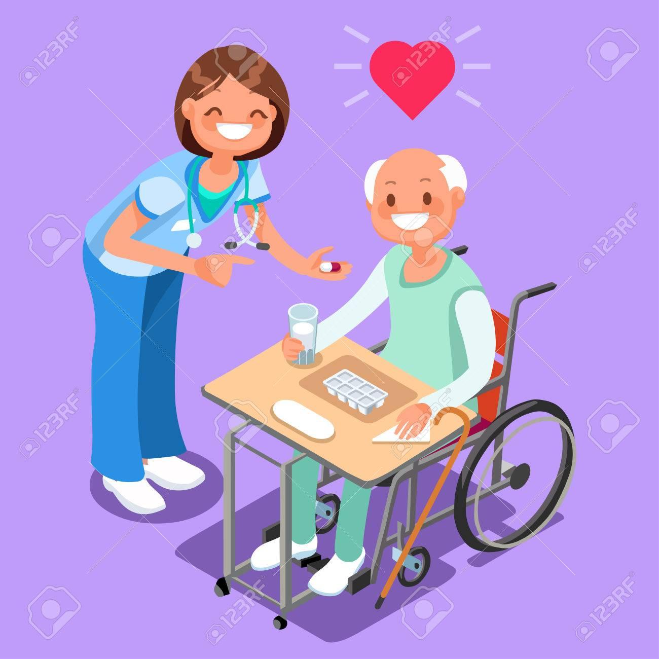 Enfermera Con Paciente En Vector De Dibujos Animados De Gente Isométrica De Hospital