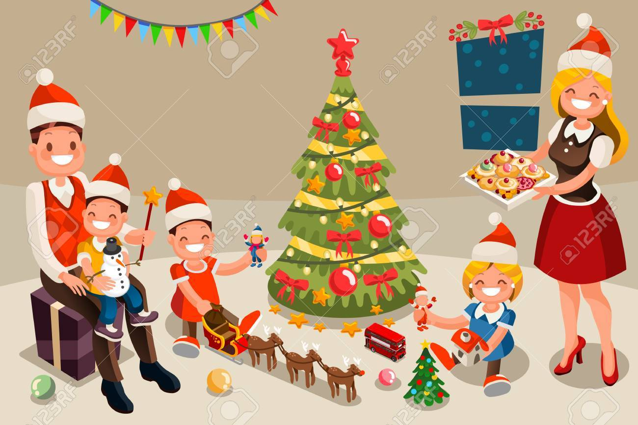 Winter Family At Christmas Party Night. Kids Holiday Family Set ...