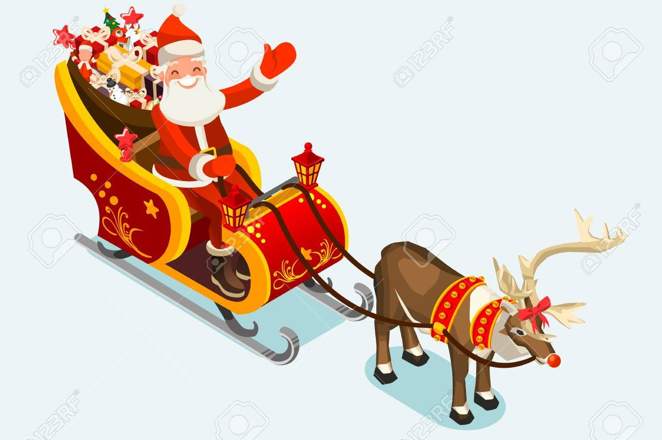 3b4e85a62 Santa Sleigh. Santa Claus And Rudolph Reindeer Delivering Children ...