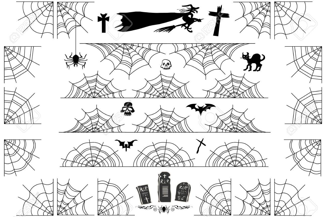 Halloween Spiderweb Fronteras Y Esquinas. Vector El Marco Y Los ...