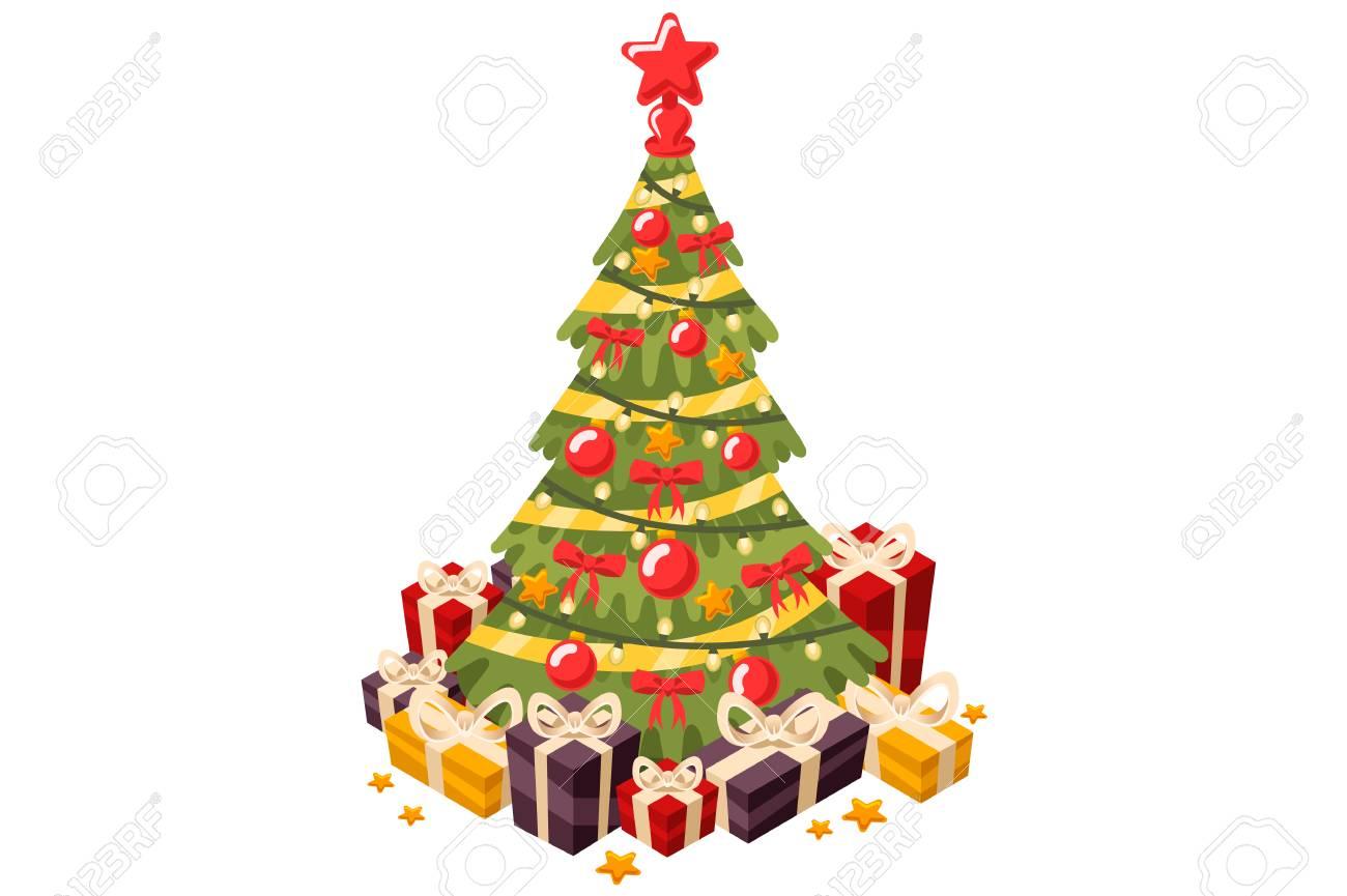 Arbre De Noël Et Cadeaux De Vacances Sapin Décoré Dune étoile Et De Guirlandes Illustration Vectorielle Dans Un Style Plat