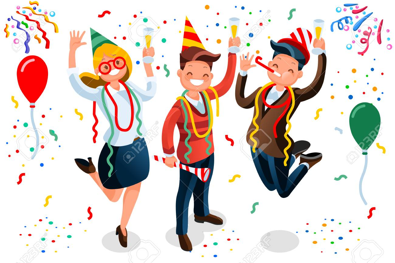 new year bash people celebrating party vector illustration cool vector flat character design on