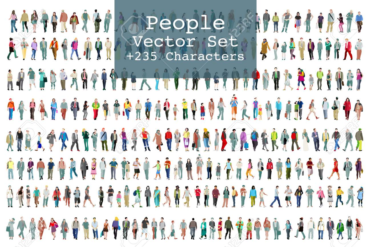 A Vector set of illustrated people. More than two hundred icons - 91009144