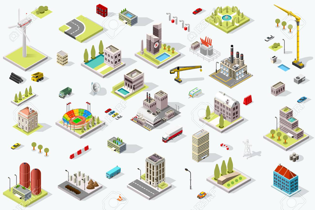 Set of isometric city buildings. Town district landscape with urban infrastructure streets and houses. 3D map vector illustration. - 92675890