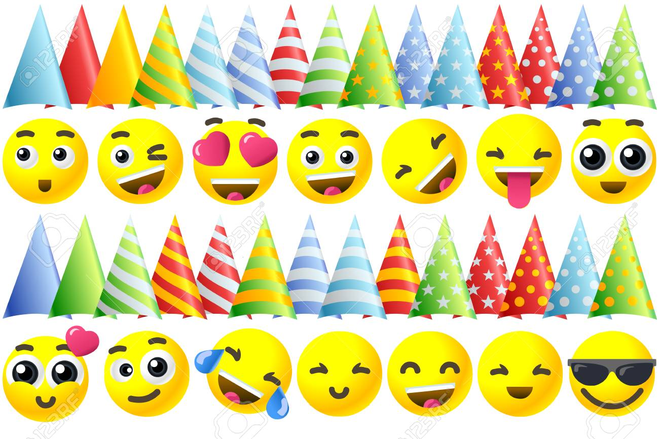 Happy Birthday Background 3D Banner With Emoji Icon Set Stock Vector