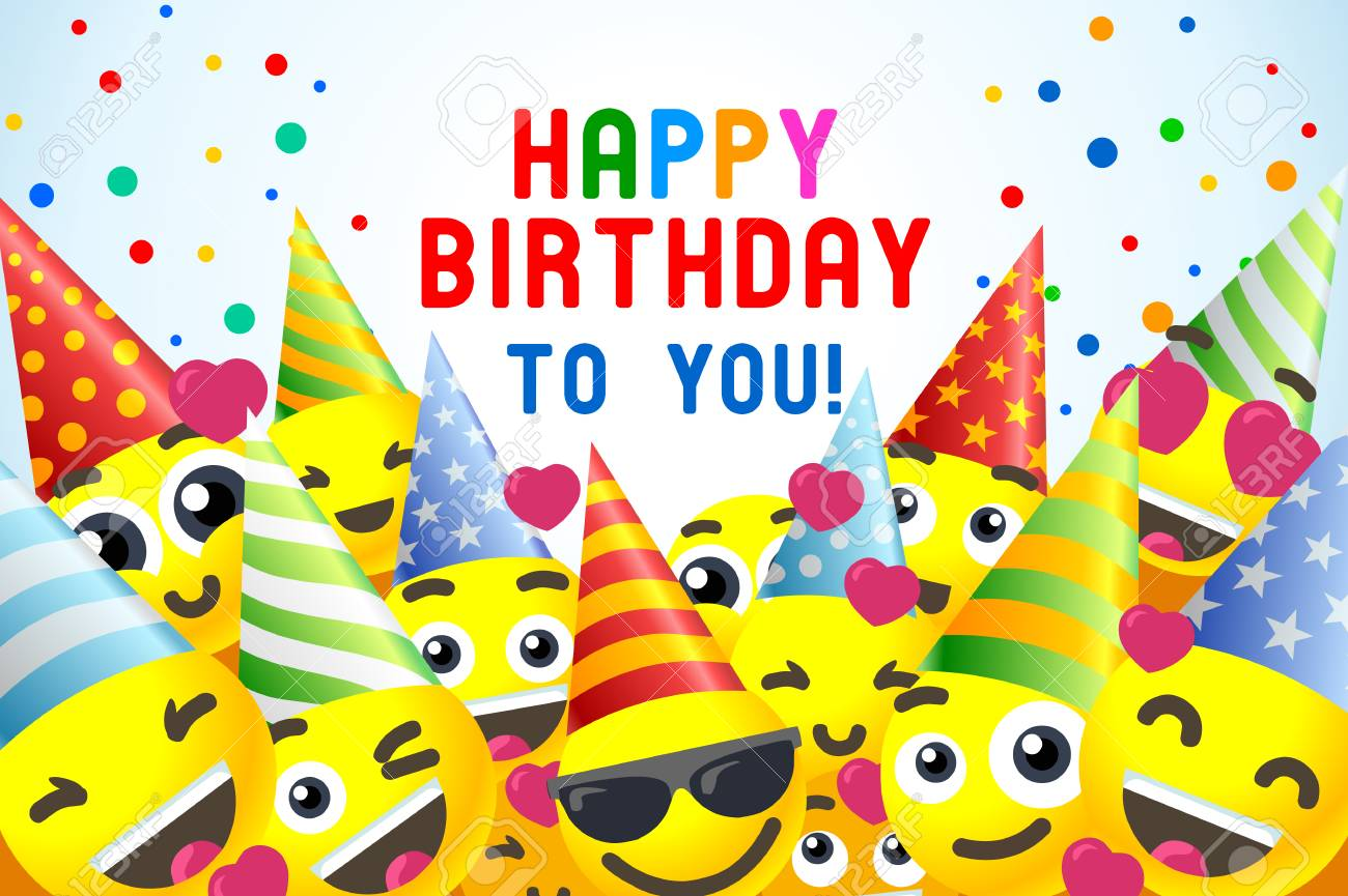 Happy Birthday Background 3D Banner For Kids Party. Royalty Free ...