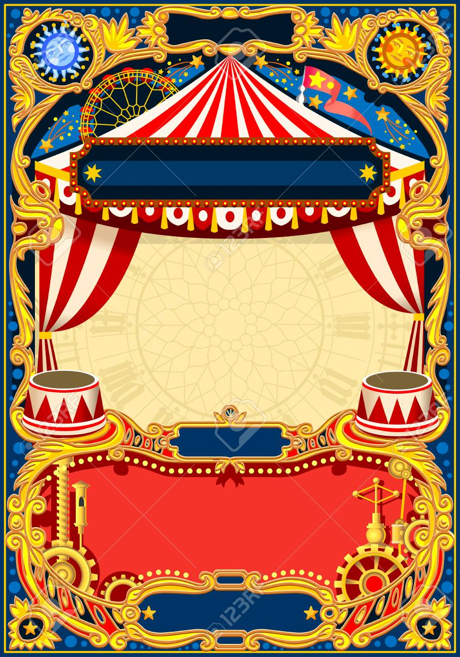 Circus Editable Frame Vintage Template With Circus Tent For