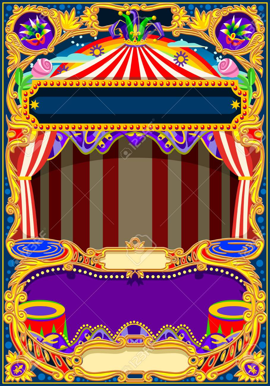 Circus Wallpaper Theme Vintage Frame With Circus Tent For Kids
