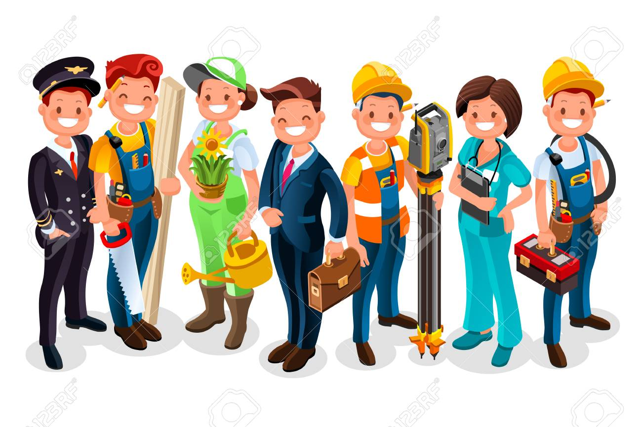 Different workmen and professional employers cartoon characters - 94401480
