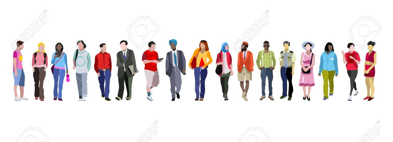 Multi-ethnic group of people vector illustration. - 95812411