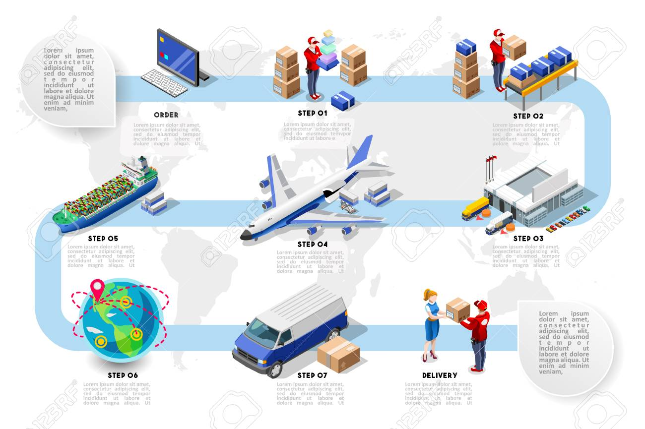 Logistics cargo vehicle freight. Trade network concept vector design isometric illustration. - 96244677