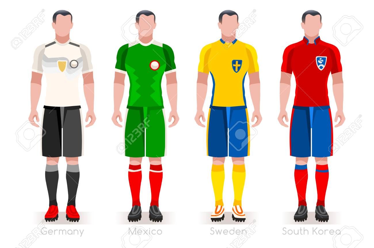 de8fc6999cc a group of football players' team jerseys vector illustration. Stock Vector  - 97842266