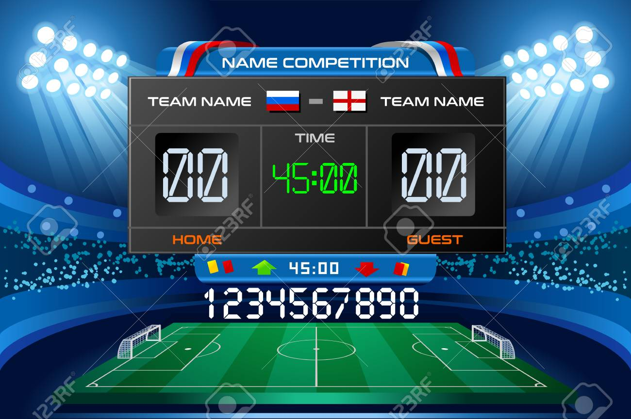Electronic scoreboard displaying match results. Vector illustration. - 97843273
