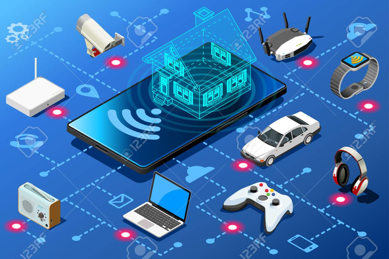 Mobile device as home energy control panel. Efficiency abstract concept isometric infographic illustration vector design. - 98217385