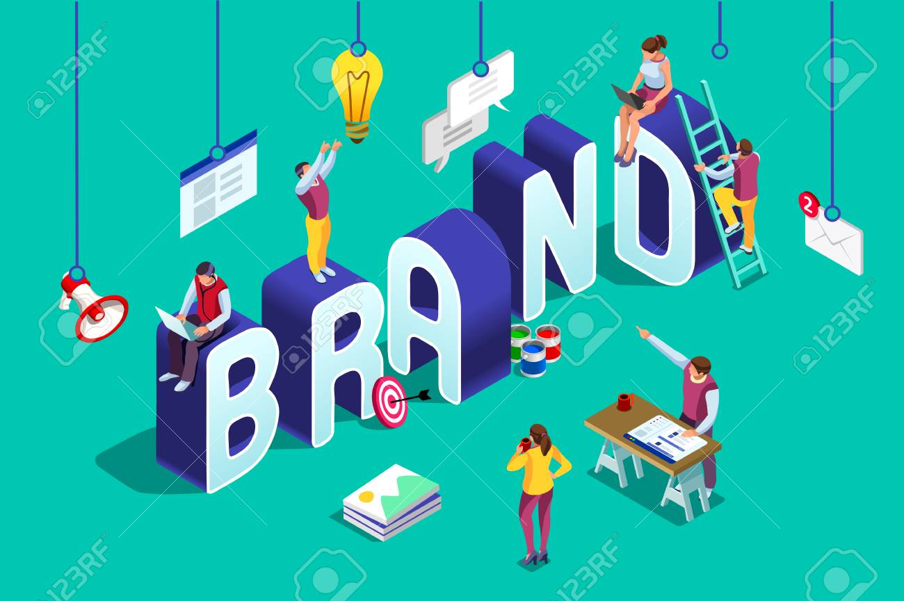 Brand vector text with employers working on branding design. Flat Isometric people illustration isolated on blue background. Can use for web banner, infographics, hero images. - 99468071
