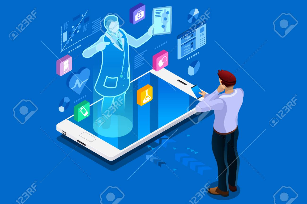 Health technology and medical advice, healthcare isometric people. Health care illustration for web banner, infographics, hero images. Flat isometric vector illustration isolated on blue background. - 100593466