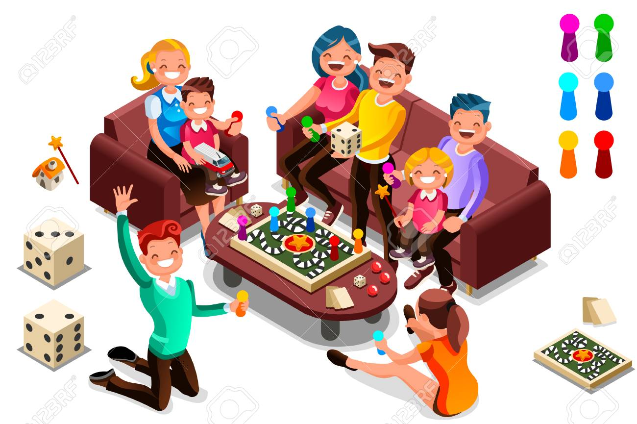 Adults leisure, board games isometric people activity. Cartoon illustration for web banner, infographics, hero images. Flat isometric characters, vector illustration isolated on white background. - 100593472