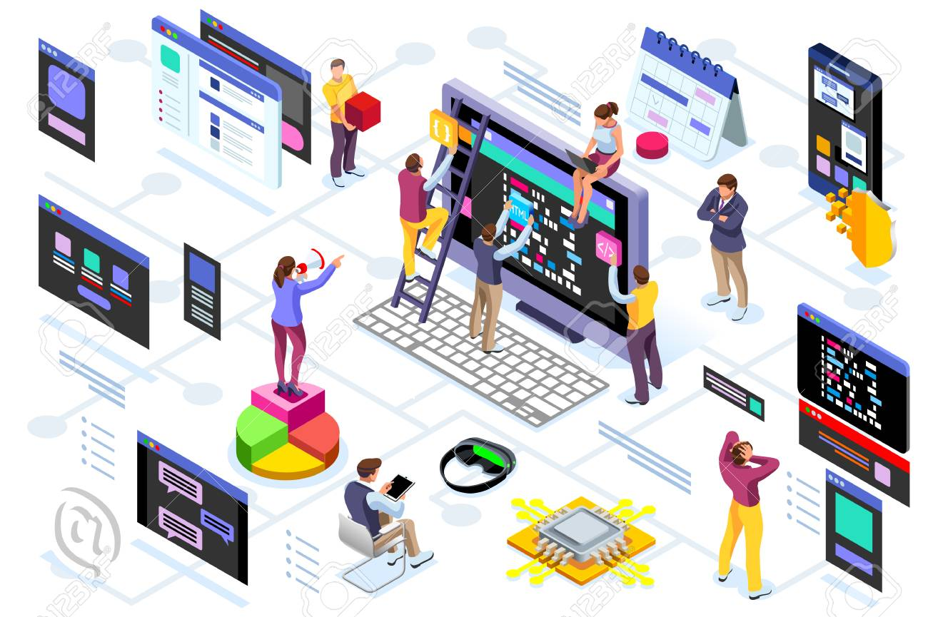 Programming software interface on device by engineers. Application for company project. A space of professional solutions for systems and softwares. Conceptual illustration. Isometric people vector. - 102009872