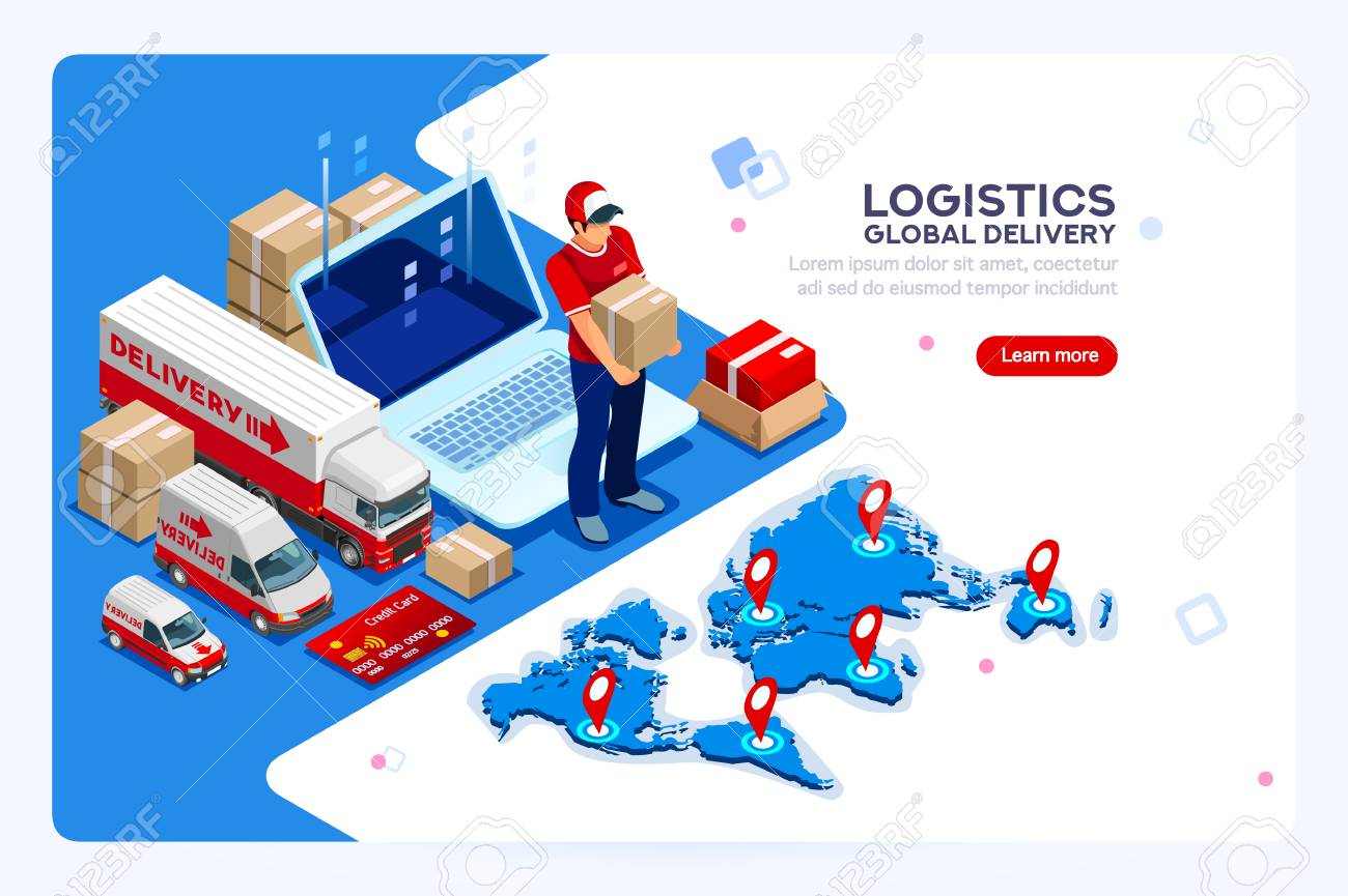Industry of shipment, web delivery and parcel concept. Carry man, free courier and express delivery. Infographics with worker boy for web banner or hero images. Isometric people vector illustration. - 103937222