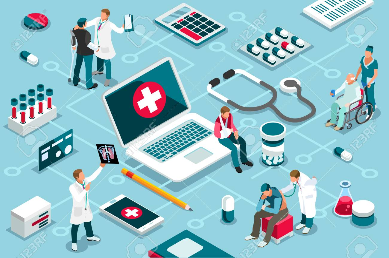 Treatment, clinic assistance on medicine services. Patient concept and clinic diagnosis. Patient assistance with healthcare technology. Infographics, banner. Flat images, vector illustration. - 103937252