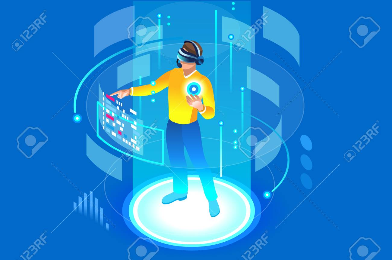 Into the future, isometric man wearing technology and touching virtual reality, augmented vr. Gadget interface for entertainment, device for virtual payment or online transaction. Vector illustration. - 103937261