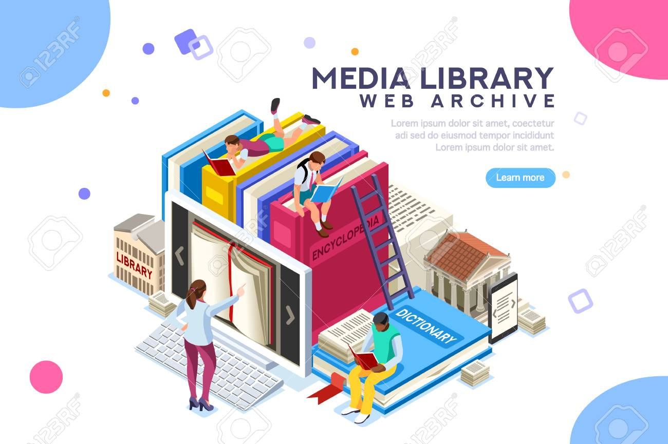Dictionary, library of encyclopedia or web archive. Technology and literature, digital culture on media library. Clipart sticker icon for web banner. Flat isometric people images, vector illustration. - 103937262