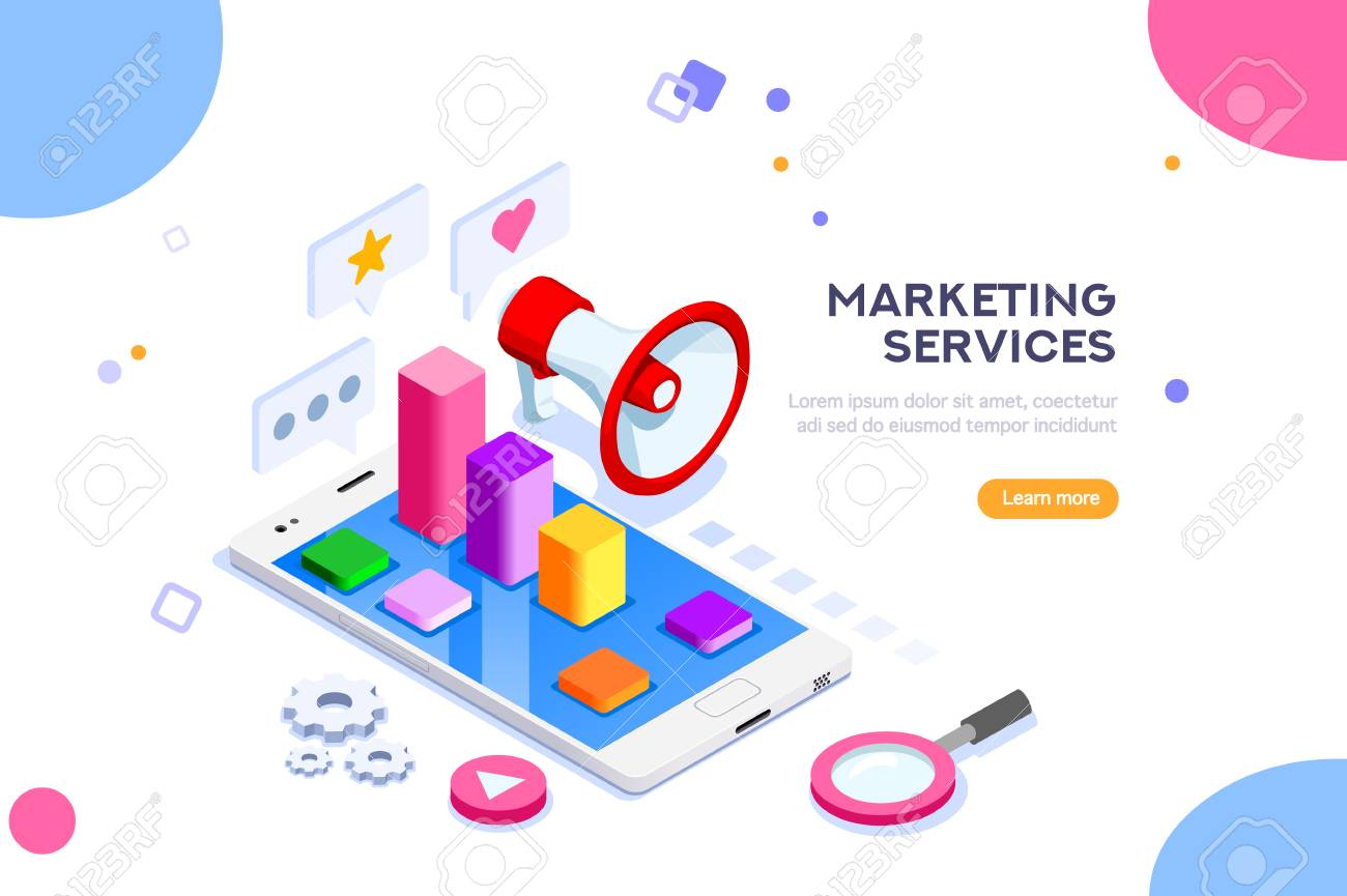 Agency and digital marketing concept. Social media for web. Can use for web banner, infographics, hero images. Flat isometric vector illustration isolated on white background. - 103746409