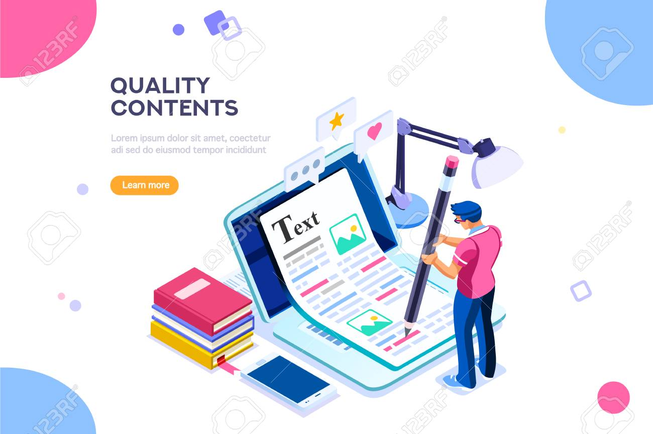 Seo infographic, content for creative blog post. Blogger character. Can use for web banner, infographics, hero images. Flat isometric character, vector illustration isolated on white background. - 103746422