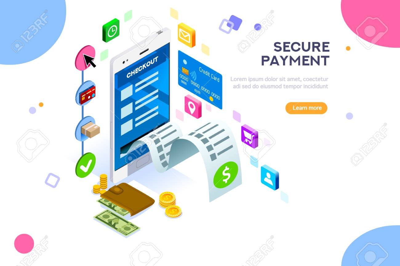 Online payment. Internet payments, protection of money in cellphone transactions. Can use for web banner, infographics, hero images. Flat isometric vector illustration isolated on white background. - 103746430