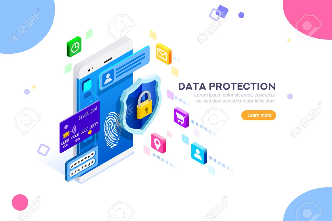 Cyber security authentication, access by encryption to the network or computer. Can use for web banner, infographics, hero images. Flat isometric vector illustration isolated on white background. - 103738375