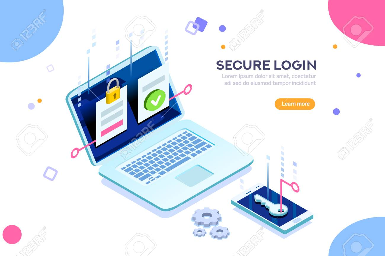 Smartphone safe certificate, two identity authentication concept. Verify permission request. Used for web banner or infographic images. Flat isometric vector illustration isolated on white background. - 103738404