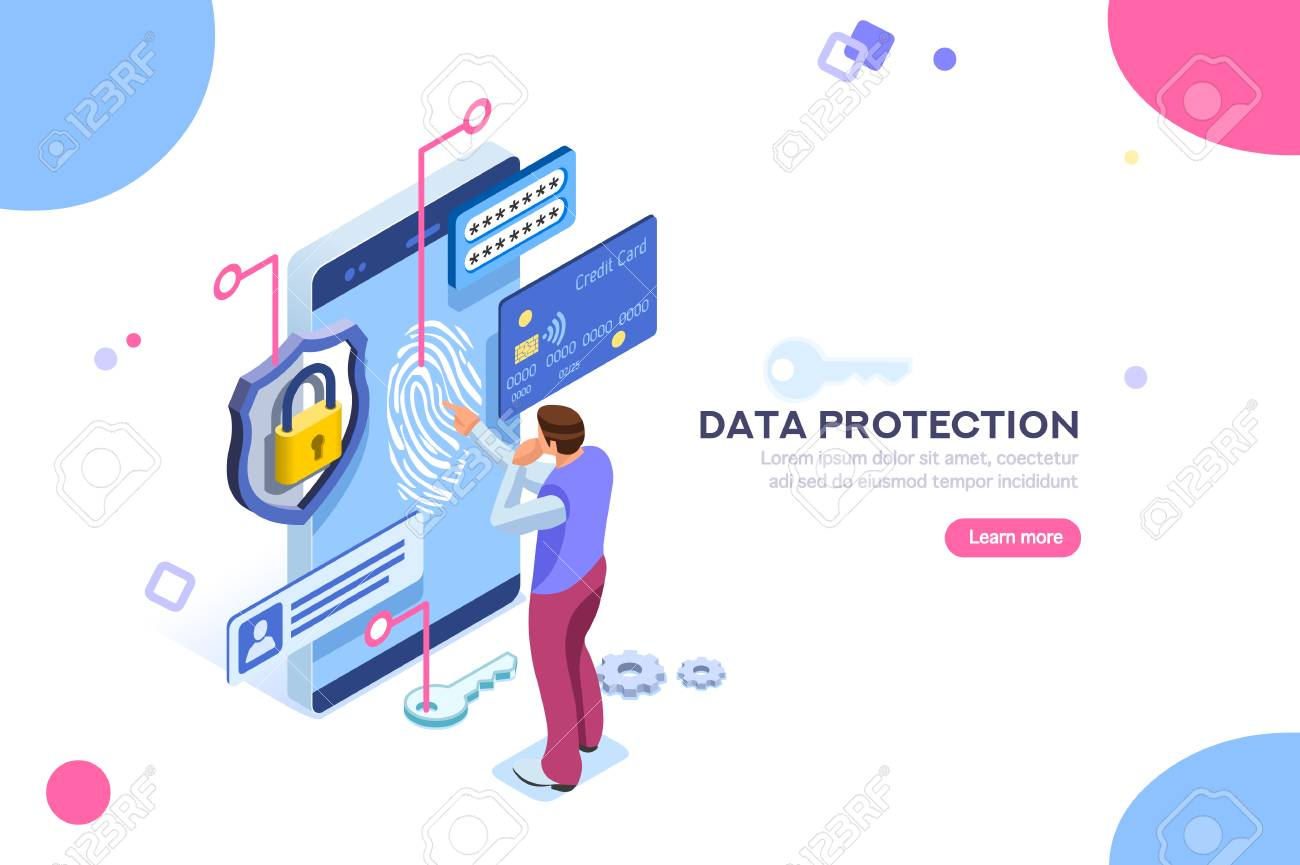 Data protection concept. Credit card check and software access data as confidential. Can use for web banner, infographics, hero images. Flat isometric illustration isolated on white background. - 103781285