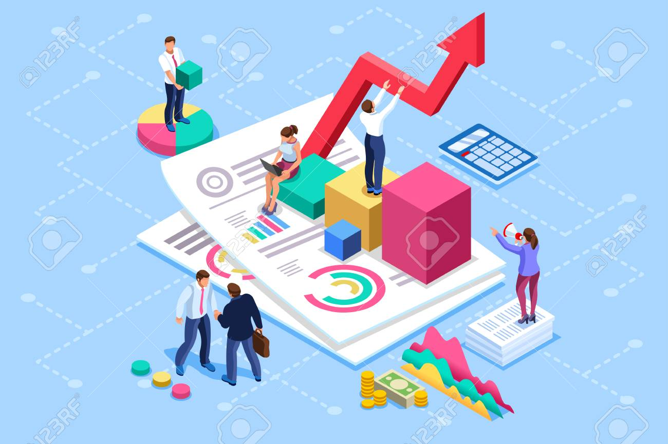 Financial administration concept. Consulting, characters at consultant meeting or auditing concept. Audit, business statement concept. Statistic plan images. Flat isometric infographics for banner. - 103390544