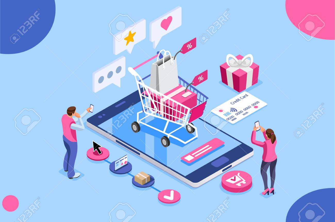 Order online, shopping concept. Customer character with gift. Mobile pay with credit card. Can use for web banner, infographics, hero images. Flat isometric illustration isolated on white background. - 103781288