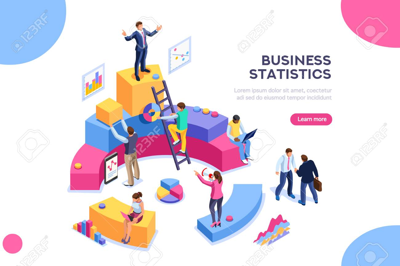 Financial administration concept. Consulting for company performance, analysis concept. Statistics and business statement. Flat isometric infographics for banner or business hero images. - 103781290