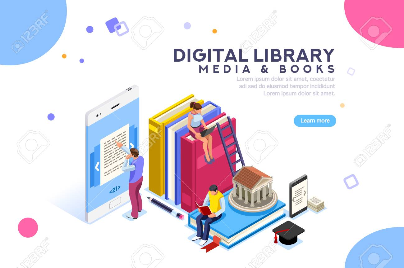 Media book library concept. E-book, reading an ebook to study on e-library at school. E-learning online, archive of books. Flat Isometric characters vector illustration. Landing page for web. - 104231825