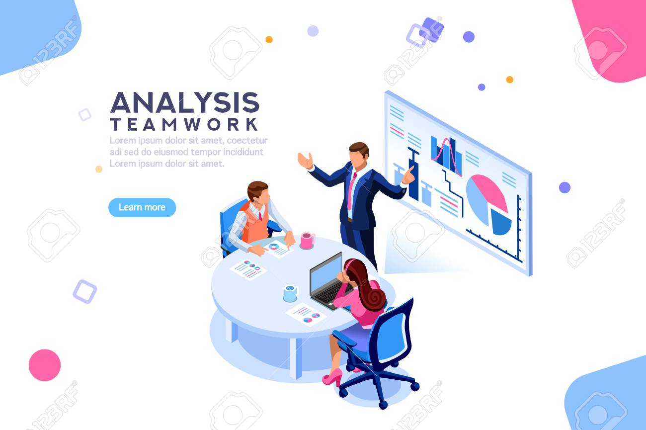 Project management and financial report strategy. Consulting team. Collaboration concept with collaborative people. Isometric business analysis planning. Flat isometric characters vector illustration. - 104231831