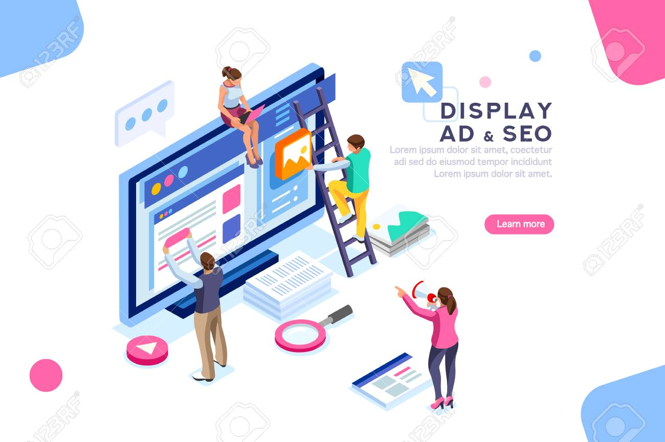 Coding people team work together. Seo optimization for target searching process. Pay click social content development tool. Flat Isometric characters vector illustration. Display campaign. - 104187700