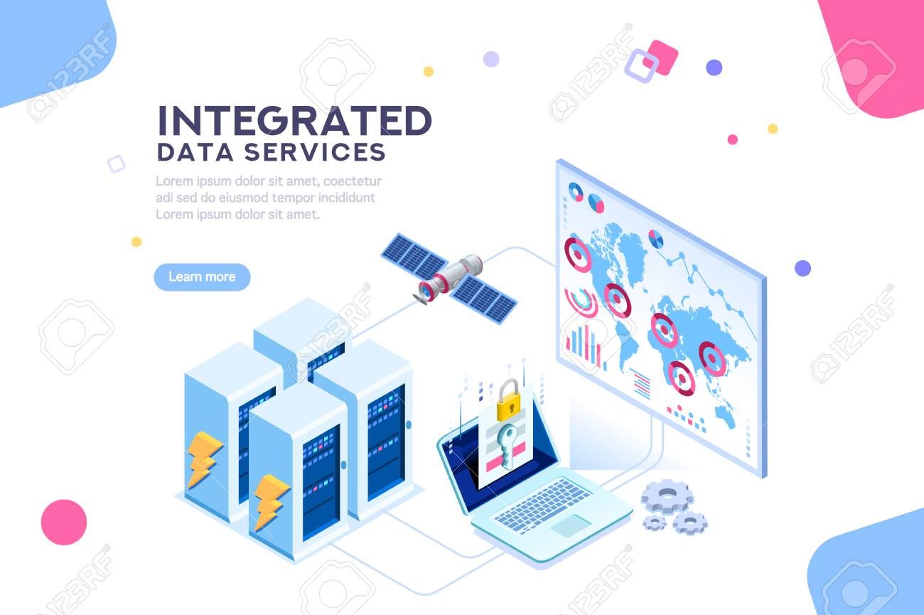 Energy station of future. hardware of global data center, electronic server net for software solutions to share informations on digital network. ethernet technology. Flat isometric illustration vector - 104187701