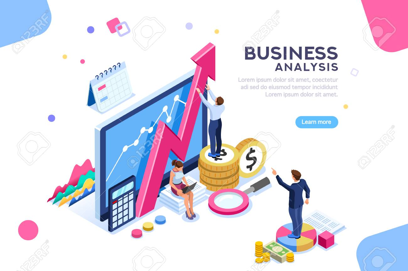 Auditing, business analysis concept with characters. Concept of opportunities. Graphic and audit documentation, economic analysis financial budget. Illustration Flat isometric vector background. - 104187720