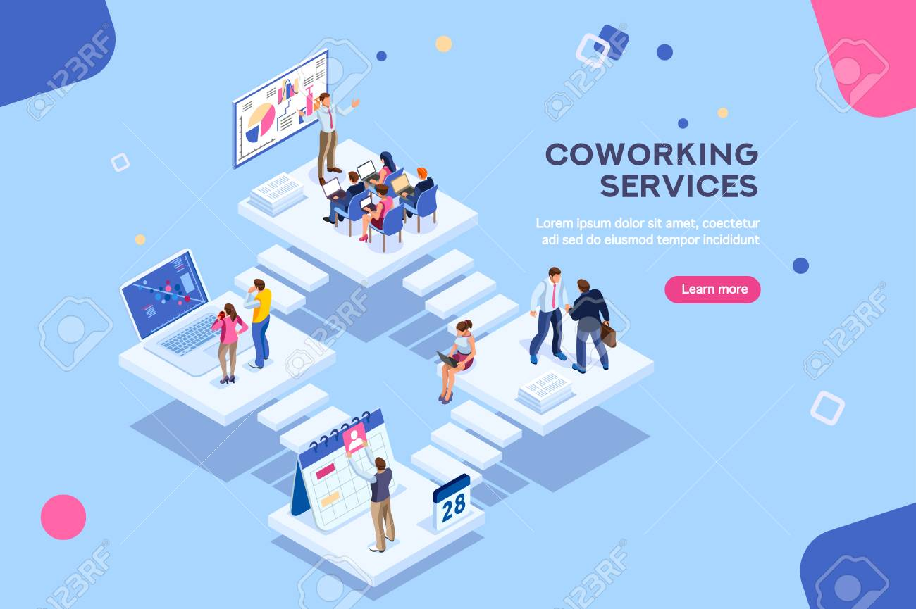Coworkers office concept with characters. Freelancer concept, coworking people, ceo business workspace for creative businesswoman. Standing employee space for businessmen. Flat Isometric illustration. - 115034808