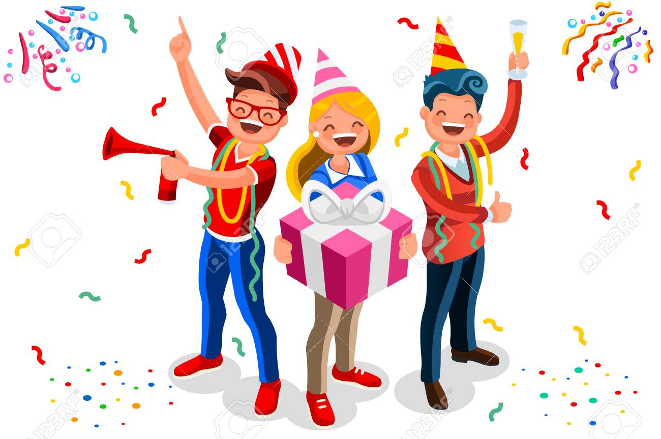 Happy birthday concept with characters. Indoor adult celebration with job colleagues group. Isometric male gift theme for man surprise. Flat Isometric characters illustration vector background - 115034809