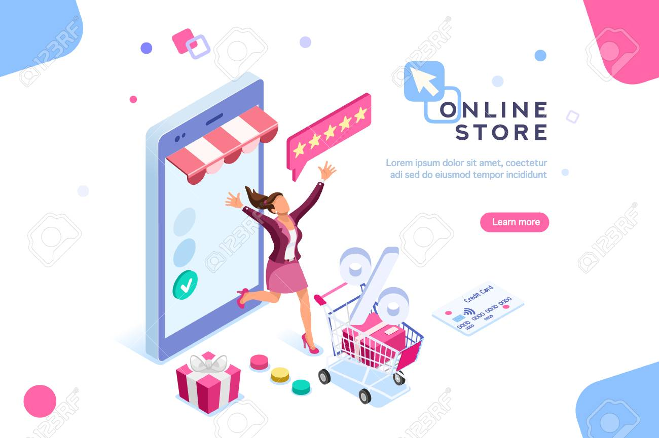 E-shop, shopping concept with characters. Commercial checkout pay, ecommerce retail on device for customer application. Discount for woman smart purchasing. Flat Isometric characters illustration. - 104285065