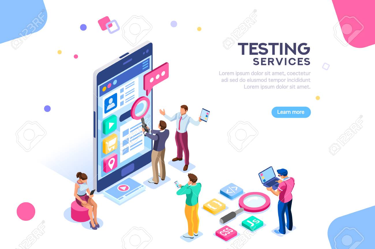 Testing process, coding team on software infographics. UX for smartphone, teamwork on device, content programming for seo. Flat isometric characters and text for designer content place. - 105923596