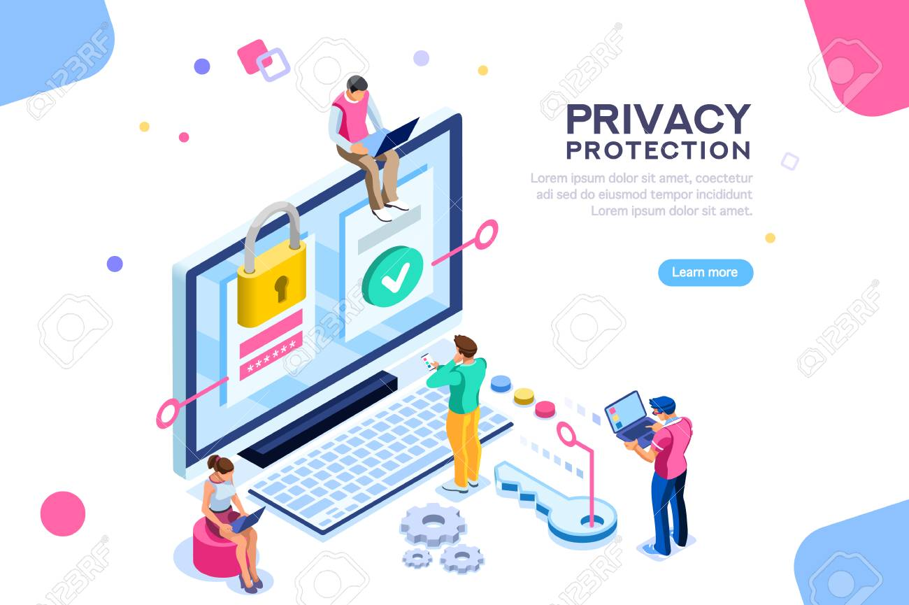 Infographic, banner with hero protect data and confidentiality. Safety and confidential data protection, concept with character saving code and check access. Flat isometric vector illustration. - 105923598