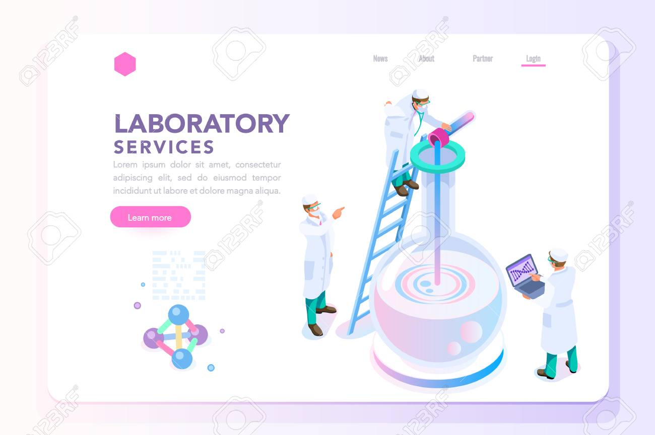 Health and biochemistry laboratory of nanotechnology. Molecule helix of dna, genome or gene evolution. Vector beauty science genome clone sequence concept with characters. Flat isometric illustration. - 105923250